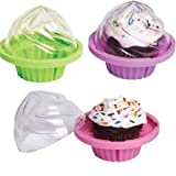 Dci-Cupcake To Go Individual-Cupcake Holder, Assorted Pink, Purple and Green Colors
