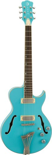 Luna Athena Hollowbody Acoustic Guitar, Aqua Mist