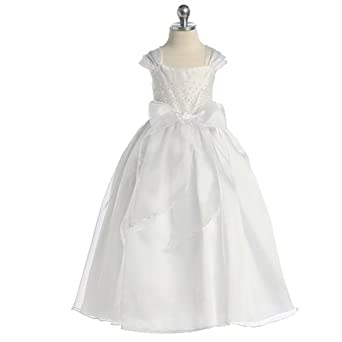 Toddler Girls White Beaded Pageant Flower Girl Dress 2T