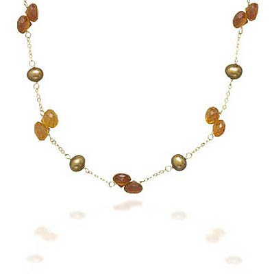 16 Inch 14K Yellow Gold Necklace with Cultured Freshwater Brown Pearls and Hessonite