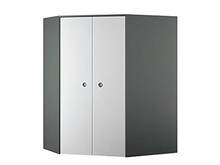 De colour gris oscuro y blanco/armario de esquina en el armario de City