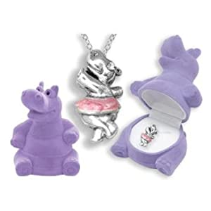 Hippopotamus Crystal Necklace in Purple Hippo Gift Box