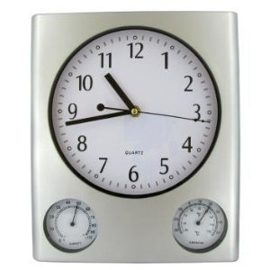 Analog Display Outdoor Wall Clocks With Thermometer And