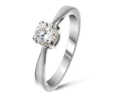 Certified Beautiful 9 ct White Gold Ladies Solitaire Engagement Diamond Ring Brilliant Cut 0.40 Carat JK-I3