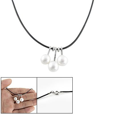 Rosallini Manmade 3 Beads White Pearl Pendant Black Cord Necklace