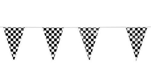 Adorox-Black-White-Checkered-Flags-Party-Banner-100-ft-Pennant-Car-Racing-Kids-Birthday-BlackWhite-Checkered-100-ft