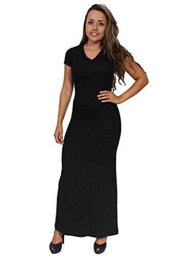 Gorgeous Women'S Rayon Maxi Short Sleeve Dress: Black (Xl)