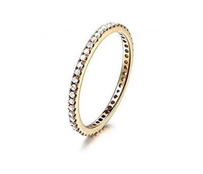 Voguegem 14K Yellow Gold Pave Diamonds Engagement Wedding Eternity Band Ring Thin Design!