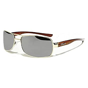X-Loop Lunettes de Soleil Aviator - Ville - Mode - Fashion - Clubbing - Conduite - Moto - Plage / Mod. 3060 Doré Marron - Argent Miroir / Taille Unique Adulte / Protection 100% UV400