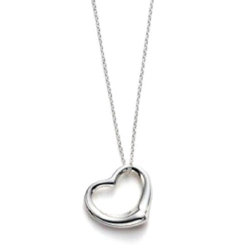 Sterling Silver Floating Heart Pendant Necklace w/ Box Chain 20 Inch (Positivity Necklace compare prices)