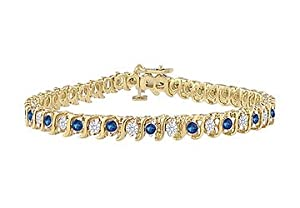 Sapphire and Diamond Tennis Bracelet : 18K Yellow Gold - 3.00 CT TGW