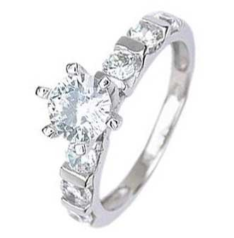 Sterling Silver Solitaire Engagement Ring with Round Cubic Zirconia in 6 Prongs in Bar Setting