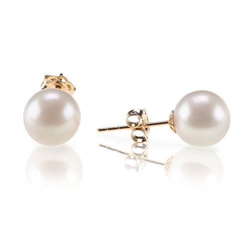 PAVOI 14K Yellow Gold Freshwater Cultured Round Pearl June Birthstone Stud Earrings