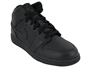 Nike Kids's NIKE JORDAN AIR 1 MID (GS) BASKETBALL SHOES 7 Kids US (BLACK/BLACK/BLACK)