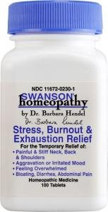 Swanson Homeopathic Remedy Stress, Burntout & Exhaustion Relief (100 Tablets)