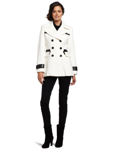 Via Spiga Women's Pea Coat with Faux Leather Trim, Winter White, 6