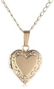 Children's 14k Gold Filled Heart Locket Pendant Necklace, 15