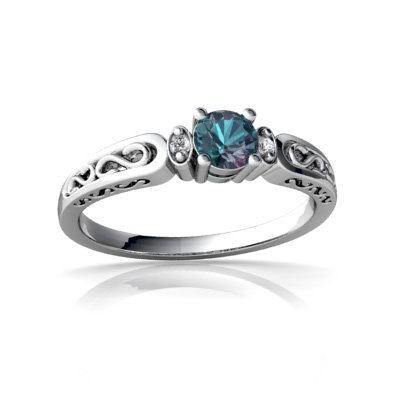 14Kt White Gold Lab Alexandrite And Diamond Round Filigree Scroll Ring - Size 7