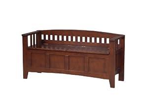Linon Short Back Storage Bench, Walnut