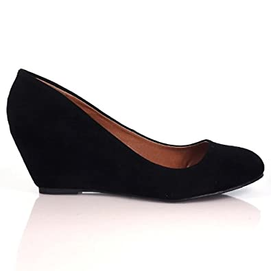 Home Round Toe Wedge Heel Dress Pump, Office Women Shoes,Home Black 6