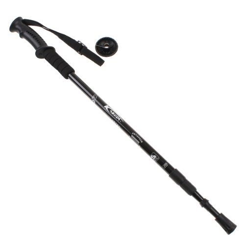 """3-Section Adjustable Telescopic Pole With Ergonomic Adjustable Telescopic Antishock Trekking Hiking Walking Stick Pole 26 """" To 53 """" With Compass (Black)"""