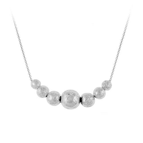 Sterling Silver Graduated Bead Frontal Necklace, 18