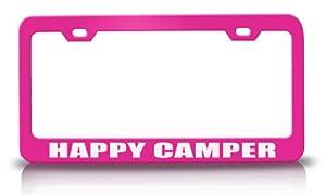 HAPPY CAMPER Family Steel Metal License Plate Frame Pn#60