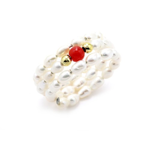 Stretchable Freshwater Pearl Fashion Ring, Adorned with Ravishing Red Coral Shell Center Stone, Includes a Free Gift Box and Pouch