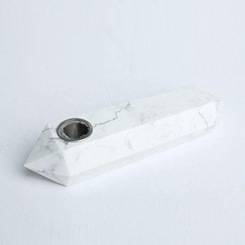 Hongjintian Natural White Turquoise Crystal Tobacco Smoke Pipe -- Normal Size -- 3 15