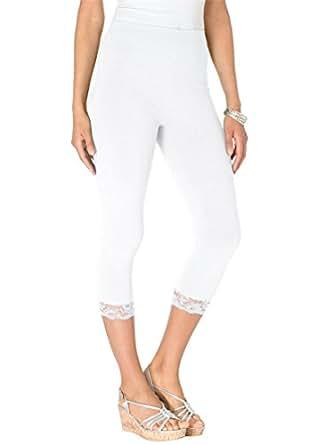 Roamans Women's Plus Size Lace Trim Capri (White,3X)