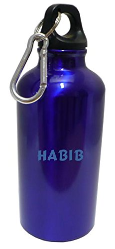 personalised-water-flask-bottle-with-carabiner-with-text-habib-first-name-surname-nickname