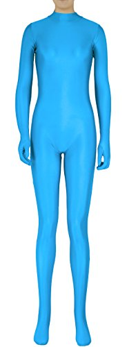 TOMSUIT Lycra Spandex Zentai Fullbody Catsuit Without Hood, XL, LakeBlue (Blue Cat Costume)