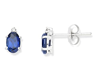Miore 9 ct White Gold 0.02 ct Diamond and Created Studs Earrings
