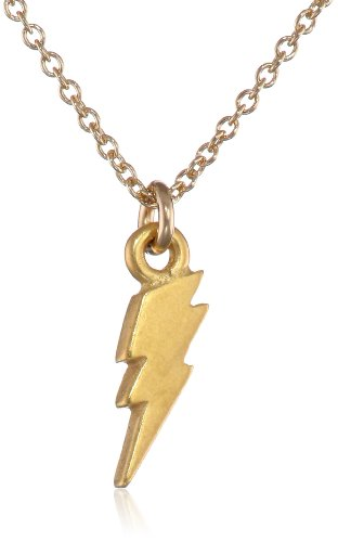 "Dogeared Reminders- ""Stronger Than Ever: Gold Dipped Sterling Silver Lightning  Bolt Charm Necklace,.."