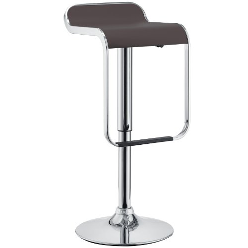 LexMod LEM Piston Style Vinyl Bar Stool in Brown
