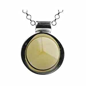 Butterscotch Amber Sterling Silver Circle Pendant Rolo Chain 18 Inches