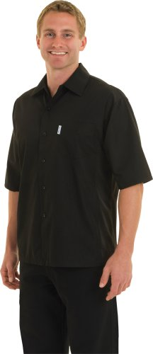 Chef Works CSCV-BLK Cool Vent Cook Shirts, Black, Large