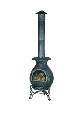 Premier Bh71039s 49 X 180cm Burnished Cast Iron Chiminea Burner - Silver by Premier Decorations Limited
