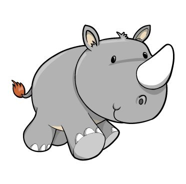 Children'S Wall Decals - Cartoon Baby Rhino - 12 Inch Removable Graphic front-956675