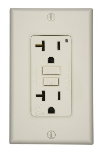 Leviton 7899-SGT 20 Amp, 125 GFCI Monochromatic Receptacle. Wallplate, Screws and Self Ground clip included, Light Almond