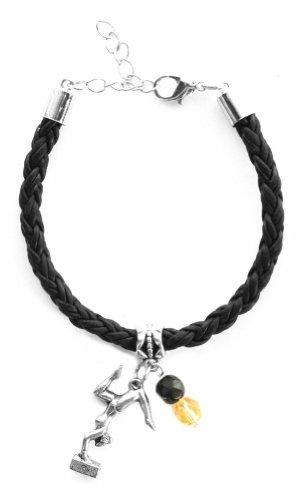 """Gymnast Girl"" Braided Leather Gymnastics Bracelet (Team Colors Black & Gold)"