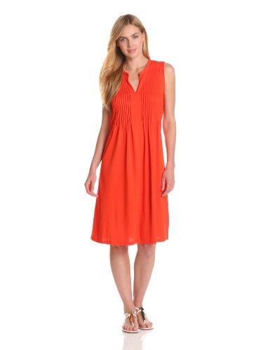 Jones New York Women's Sleeveless Dress With Pleats, Bright Papaya, Large