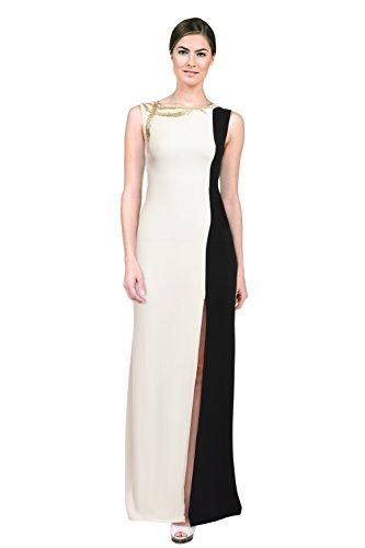 Oscar de la Renta V Neck Embroidered Trim Slim Evening Gown Dress