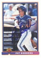 Pat Borders, Toronto Blue Jays, 1991 Bowman Autographed Card