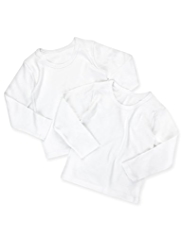2 Pack Pure Cotton Plain Long Sleeve Vests
