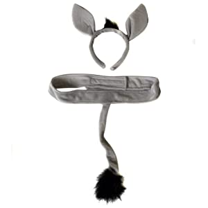 Plush Donkey Headband Ears and Tail Costume Set