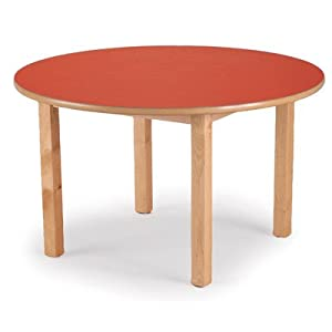 "36"" Round Table Color: Red, Size: 21"" x 36"""
