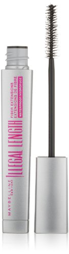 Maybelline New York Illegal Length Fiber Extensions Waterproof Mascara, Blackest Black, 0.22 Ounce