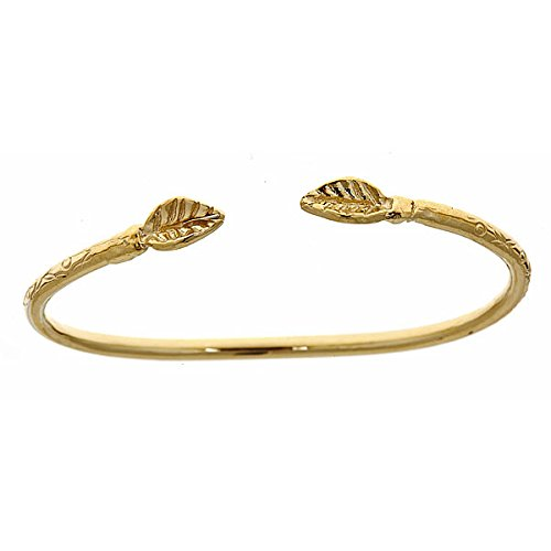 14K Yellow Gold Baby West Indian Bangle W. Leaf Ends
