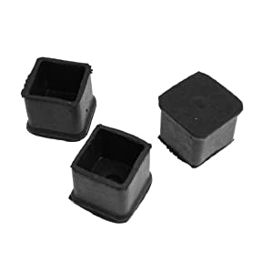 Square Cap Chair Table Rubber Foot Covers 30mm X 30mm 3 Pcs Blac